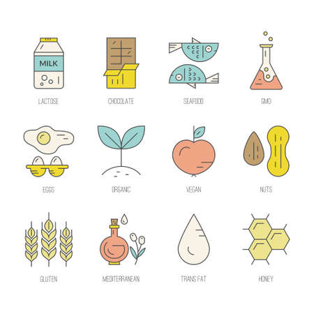 pictogramm: Collection of icons with symbols of different diets - vegetarian, gluten free, seafood, lactose free. Vector line style collection. Food intolerance symbol set.