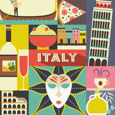 masque: Modern flat vector concept with Italian symbols. Coliseum, masquerade masque, gondola and other Italy design elements. Unique design for travel to Italy poster.