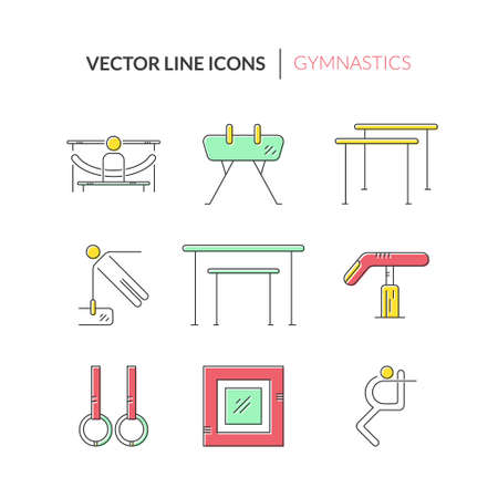 exersice: Thin line vector icon set with Artistic gymnastics equipment and elements. Summer games and sports modern vector series. Great set of line style symbols.