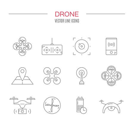 pictogramm: Icon collection with quadrocopter, hexacopter, multicopter and drone made in vector. Modern technology symbols of unmanned vehicles. Drone vector symbols.
