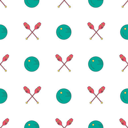 gymnastics equipment: Modern seamless pattern with different rhytmic gymnastics equipment - clubs and bakk. Great texture for web sites, invitations, announcements and competition background made in vector. Sports vector series. Illustration