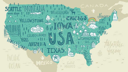 Handdrawn illustration of USA map with hand lettering names of states and tourist attractions. Travel to USA concept. American symbols on the map. Creative design element for tourist banner, apparel design, road trip event design. Ilustração