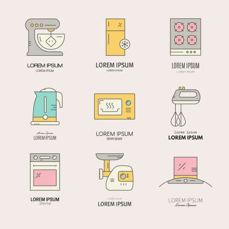 mincer: Collection of labels with different house applinces including fridge, mincer, mixer, microwave, teapot. Vector line collection of household symbols. Illustration