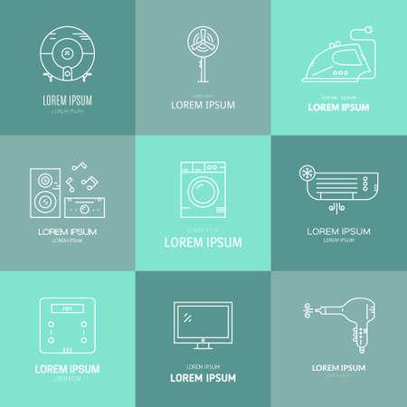 Collection oflabels avec des appareils de la maison. icônes de vitesse Maison faites dans le vecteur. Tv, lave-linge, climatisation et autres engins de la maison.