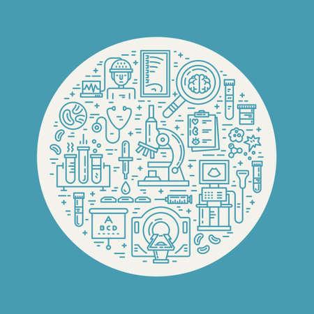 resonancia magnetica: Vector ilustración de estilo de línea con diferentes artículos médicos - resonancia magnética, tomografía, microscopio. cartel de la investigación médica.