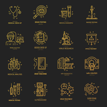 Big collection of medical with different medical symbols - MRI, microscope, blood testing. Label for research center, hospital, lab made in modern line style vector. Illustration