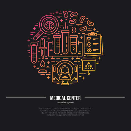 tomography: Health care and medical research vector illustration made in line style. Medicine and chemical engineering.