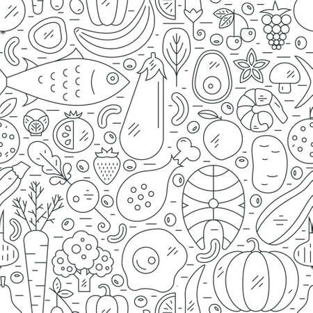 Seamless vector pattern with healthy food. Paleo diet background. Healthy lifestyle illustration.