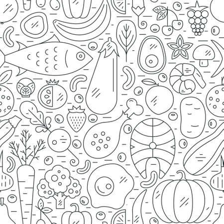 Illustrazione con cibo sano. dieta sfondo Paleo. illustrazione stile di vita sano. Archivio Fotografico - 60654344