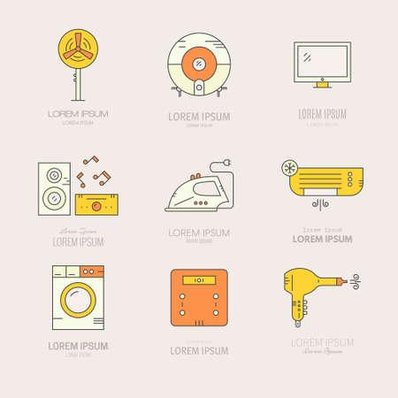Collection oflabels avec des appareils de la maison. icônes de vitesse Maison faites dans le vecteur. Tv, lave-linge, climatisation et autres engins de la maison. Vecteurs