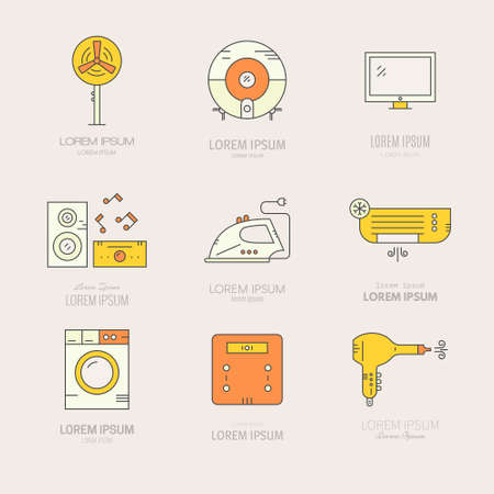Collection oflabels with house appliances. House gear icons made in vector. Tv, washing machine, aircondition and other home gear.