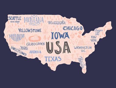 USA map - handgetekende illustratie met letters en symbolen van toeristische attracties. Creative design element voor toeristische banner, kleding ontwerpen, road trip event design.