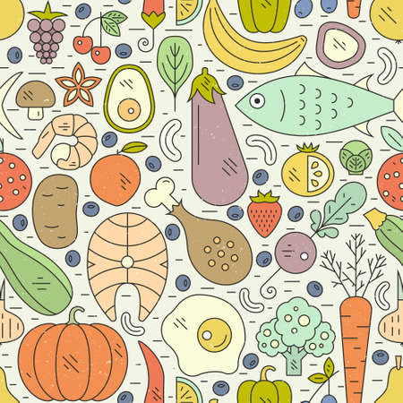 steak plate: Seamless vector pattern with healthy food. Paleo diet background. Healthy lifestyle illustration.