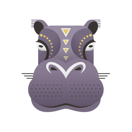 safari animal: Portrait of a hippo made in trendy flat style vector. African animal. Safari label or t-shirt design with cute animal character.