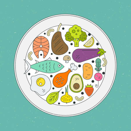 Healthy food in a plate. Paleo diet illustration. Healthy lifestyle and diet concept with seafood, vegetables and fruits.