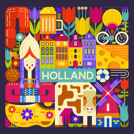 Conceptual illustration of Holland symbols made in modern flat style vector. Unique design for poster, tourist company flyer or banner. Visit Amsterdam design with traditional dutch symbols.
