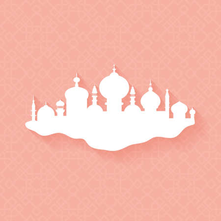 fitr: Clean illustration of islamic city with mosque on ornamental background with shadow. Vector design element for muslim community Ramadan Kareem or Eid Al Fitr. Illustration