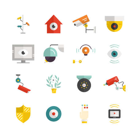 monitored area: Big collection of flat vector icons with security and surveillance elements - CCTV, video cameras, street security, hidden camera. Modern technology and surveillance.