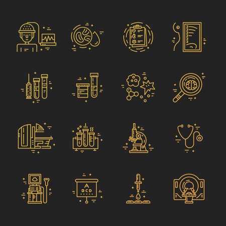 scanning: Medical symbols and icons. Check-up and medical diagnostic. MRI, scanning machine, xray, blood test. Illustration