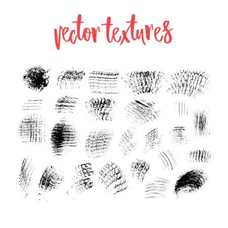 placeholder: Collection of handdrawn vector textures. Brush strokes and skretches for grunge look. Brush templates for vector art. Creative hand painted textures - can be used for art overlay, background or as a placeholder for your text.