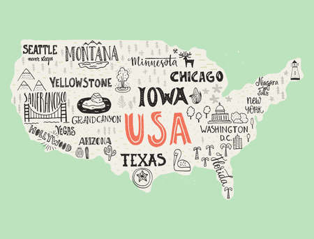 USA map - handdrawn illustration with lettering and symbols of tourist attractions. Creative design element for tourist banner, apparel design, road trip event design.
