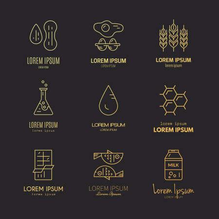 intolerancia: Colección de alérgenos de alimentos hechos en vector de estilo de línea. etiquetas intolerancia del producto. Vectores
