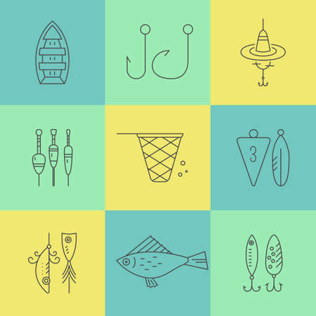 pictogramm: Collection of different fishing gear made in modern line style vector. Bobber, tackle, floater, rod, boat and other fishermans gear. Outdoor activity symbols. Fishing equipment collection made in vector. Illustration