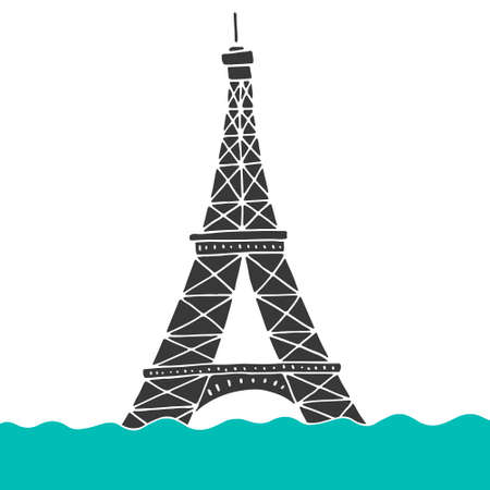 overflow: Eiffel Tower under the water. Paris flood. Flooded symbold of France.