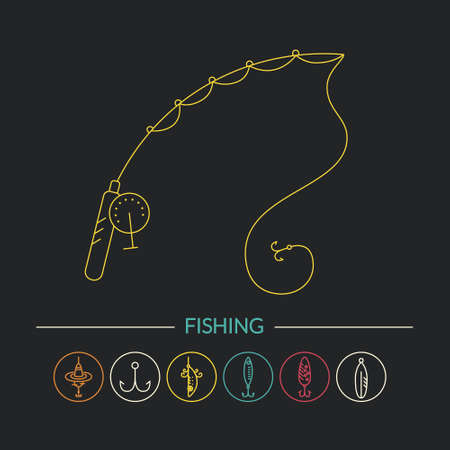 pictogramm: Vector illustration of a fishing rod and other fishing gear. Line style series.