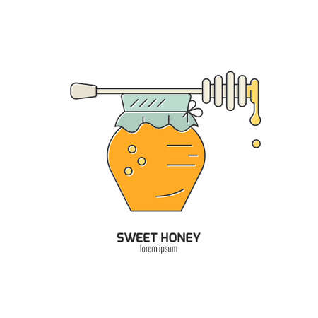 mead: Jar with honey and dipper illustration made in vector concept isolated on white background.