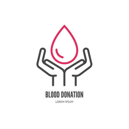 charity work: Hands holding drop of blodd - clean and simple vector illustration  for blood donation.