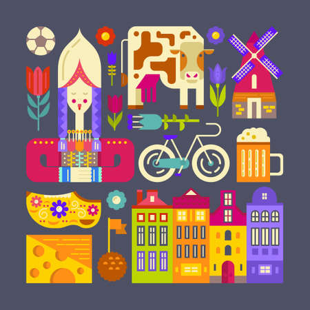 Traditional dutch symbols made in flat style vector. Architecture, food, cloth - different Holland tourist attractions and landmarks.