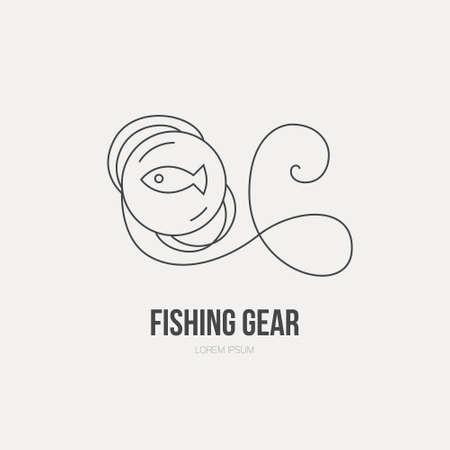 fishing line: Fishing line - fishing vector series. Fishing gear made in line style vector. Fishing line label.