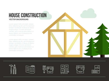 timber harvesting: Easy to edit vector template for woodwork industry with modern frame house. Tools, materials and house building process. Place for your text. Illustration