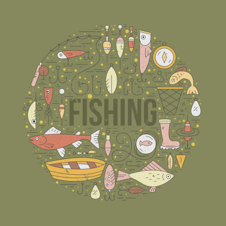 Different fishing elements arranged in a circle with sign fishing in the middle. Vector line art. Fishing shop design element.