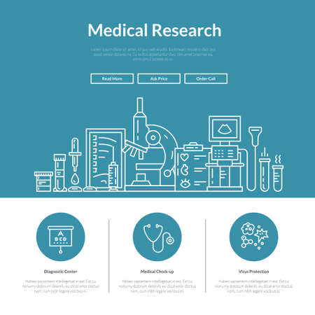 Landing page design template with medical symbols. Website layout for research lab, hospital or check-up center. Hero image concept for medical site.