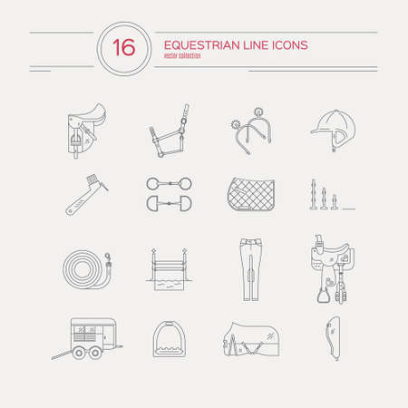 Modern line collection of horse gear. Saddle, bit, spurs, western saddle and other equine equipment. Horseriding gear. Vector line style icons. Vetores