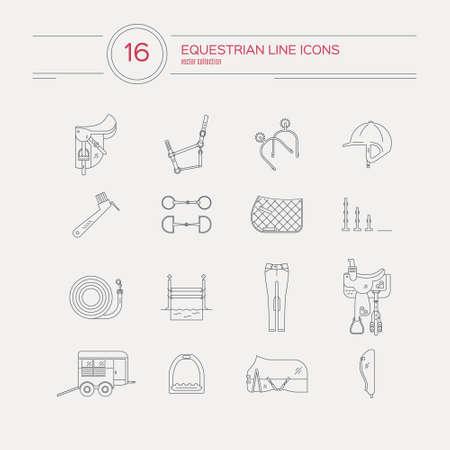Moderne Linie Sammlung von Pferdegeschirr. Sattel, bit, Sporen, Westernsattel und andere Pferde-Ausrüstung. Reiten Gang. Vector Linie Stil-Ikonen. Vektorgrafik