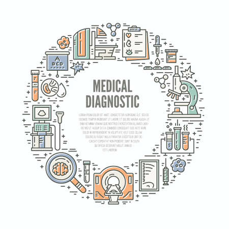 Unique line style vector illustration with different medical machines and gear. Medicine and chemical engineering. Healthcare poster or banner template.
