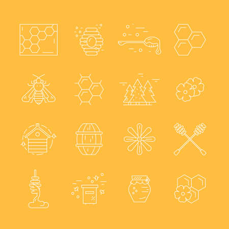 mead: Big collection of thin line icons with honey - honeybee, dipper, wax, propolis, flower and other elements made in vector.