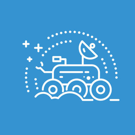 astronautics: Space rover made in trendy line stile vector. Space series. Space exploration and adventure symbol. Explore the world concept. Illustration
