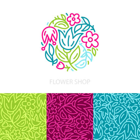 beauty shop: Collection of unique floral and three seamless patterns with linear style flowers. Branding identity set for flower shop, bridal boutique, beauty salon. Vector floral set. Illustration