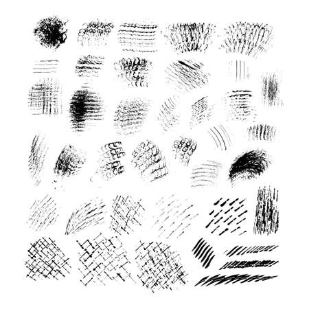 Het verzamelen van handgetekende vector texturen. Penseelstreken en skretches voor grunge look. Borstel sjablonen voor vector kunst. Creative hand beschilderd textures - kan worden gebruikt voor kunst overlay, achtergrond of als een tijdelijke aanduiding voor uw tekst. Stock Illustratie
