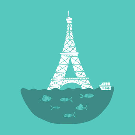 terrify: Eiffel Tower under the water. Paris flood. Flooded symbold of France.
