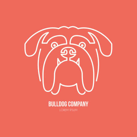 breeder: Portrait of bulldog made in modern line style vector. Perfect for dog breeder, pet shop, veteriarian clinic or dog training company. Illustration