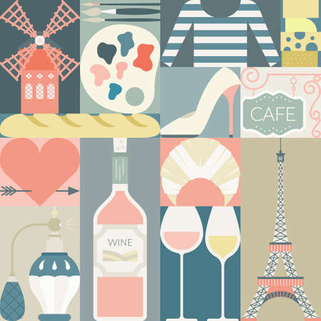moulin: French symbols - Eiffel tower, heart, moulin rouge, baguette, wine and others. Flat style illustration. Modern concept. Illustration
