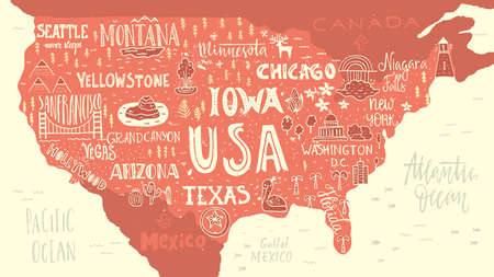 Handdrawn illustration of USA map with hand lettering names of states and tourist attractions. Travel to USA concept. American symbols on the map. Creative design element for tourist banner, apparel design, road trip event design. Illustration