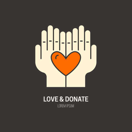 nonprofit: Heart in hands - symbols for non-profit organization, fundraising event, charity or donation.