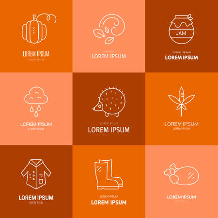 pictogramm: Collection of vector autumn. Vector pictogramm or icon set. Unique and modern bundle of linear fall symbols isolated on background.