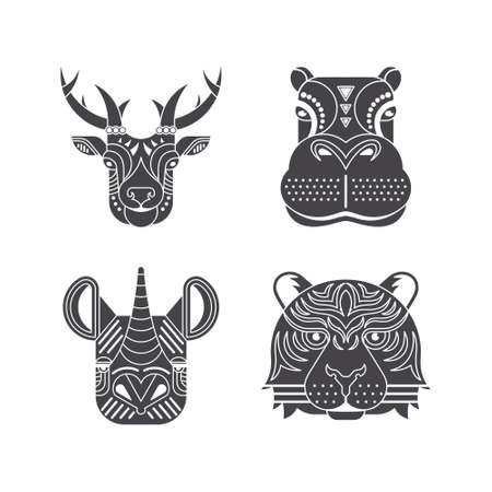 safari animal: Portrait of a african animals made in ornate vector style. Deer, hippo, rhino, tiger. Safari label or t-shirt design with cute animal character.